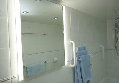 Bathroom mirror with side lights and demist pad